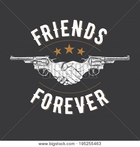 Creative Effective Poster with two revolvers and slogan friends forever vector illustration