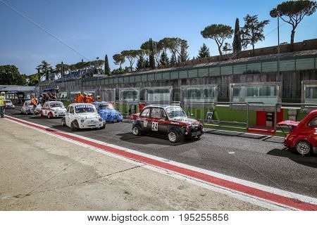 Vallelunga, Rome, Italy. June 24 2017. Italian Bicilindriche Cup, Fiat 500 Racing Cars Moving From P
