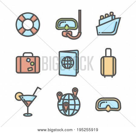 Summer vacation colored icons set 04. Diving mask, lifebuoy, cruise ship, passport and other linear symbols