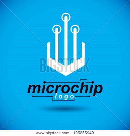 Vector circuit board with electronic components of technology device. Computer motherboard cybernetic abstraction microchip logo.