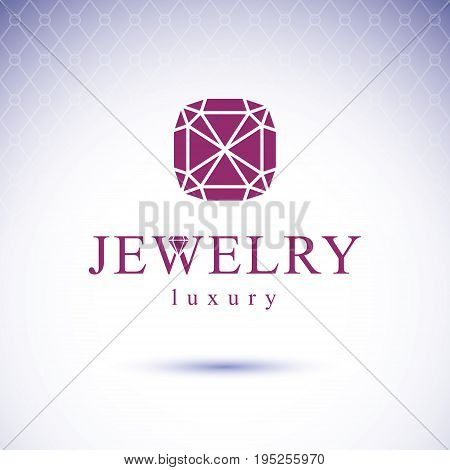 Vector abstract geometric shape best for use as creative business logo. Faceted gemstone or brilliant.