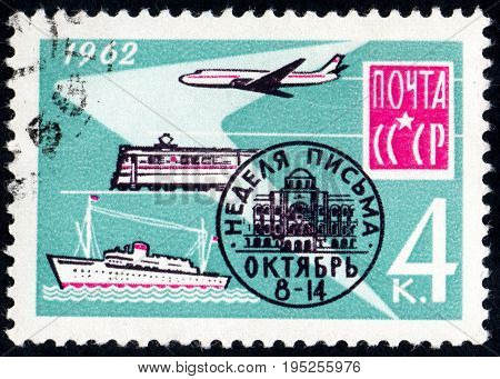 UKRAINE - CIRCA 2017: A postage stamp printed in USSR shows International Corespondence Week from the series International Letter Writing Week circa 1962