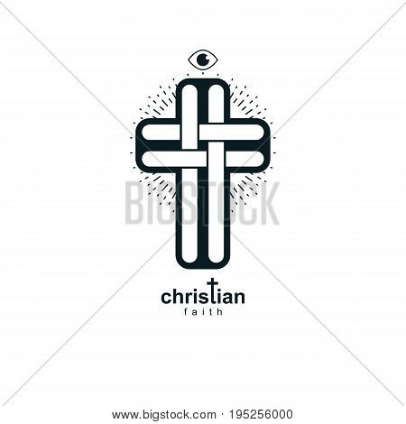 Christian Cross true belief vector religion symbol Christianity Jesus icon.