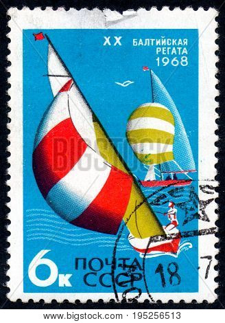 UKRAINE - CIRCA 2017: A postage stamp printed in USSR shows 20th Baltic regata from the series International Sports Events circa 1968