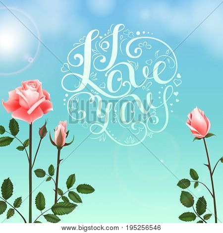 Greeting card with roses, delicate buds, flowers, branches. Can be used as invitation card for wedding, birthday and other holiday and summer background. Vector illustration EPS10