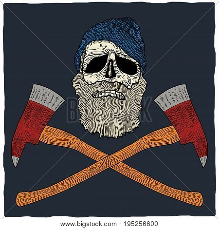Lumberjack skull poster with hat and two axes vector illustration