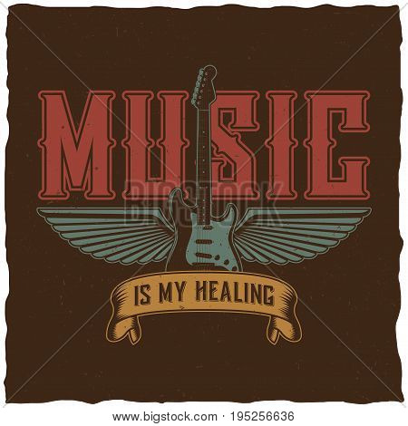 Effective music poster with words music is my healing vector illustration
