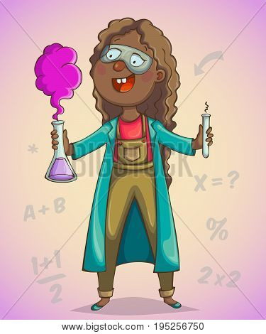 African girl scientist. Cartoon character. Vector illustration