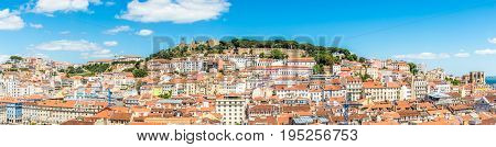 Panoramic view at the Alfama district from Santa Justa in Lisbon - Portugal