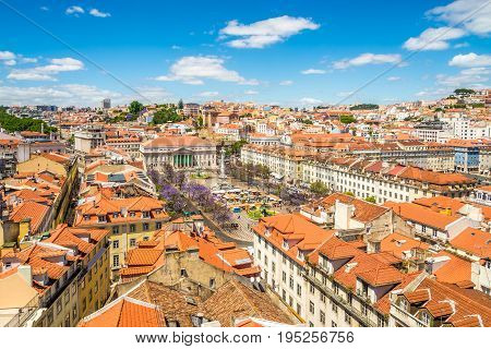 View at the Rossio square from Santa Justa in Lisbon - Portugal