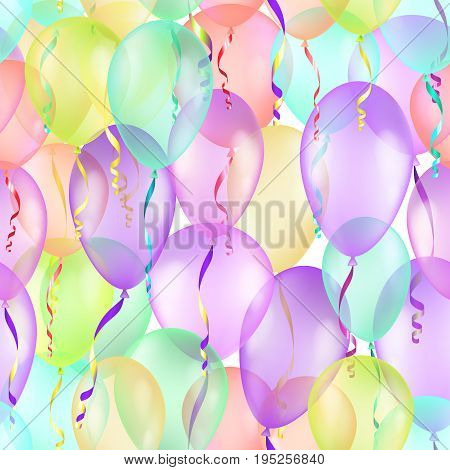 Balloons seamless pattern background, beautiful colorful illustration, eps10, contains transparencies. Vector