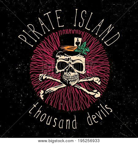 Colorful Skull Poster with phrase Pirate Island Thousand Devils and skeleton in hat vector illustration