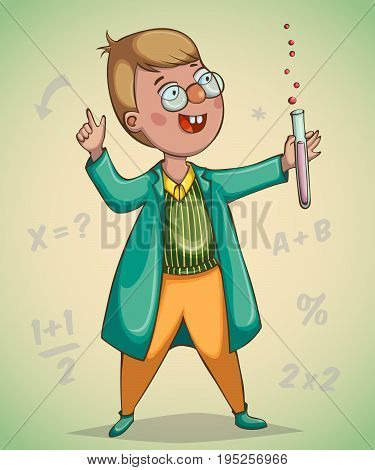 Boy scientist surprised by discovery. Cartoon character. Vector illustration