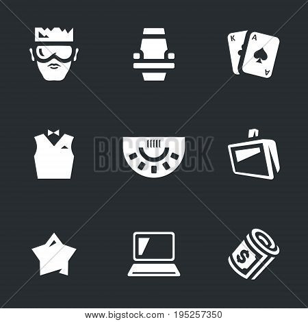 Player, chair, card, croupier, table, monitor, star, laptop, money.