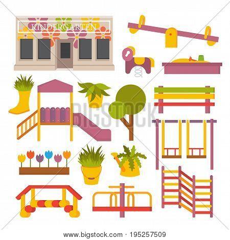 Vector kindergarten preschool. Kids flat playground icon set.