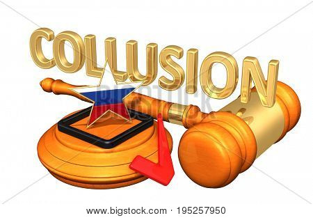 Election Collusion Law Gavel 3D Illustration