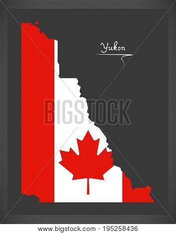 Yukon Canada Map With Canadian National Flag Illustration