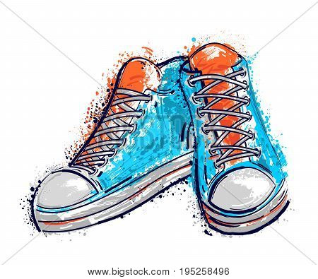 Sport shoes in watercolor style. Isolated elements. Vintage hand drawn vector illustration