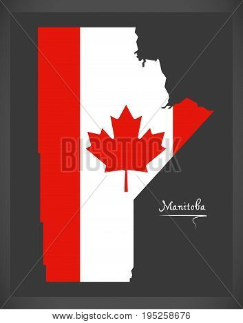 Manitoba Canada Map With Canadian National Flag Illustration