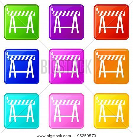 Traffic barrier icons of 9 color set isolated vector illustration