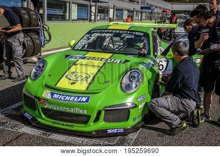 Vallelunga, Rome, Italy. June 24 2017. Italian Porsche Carrera Cup Alex De Giacomi Racing Driver On