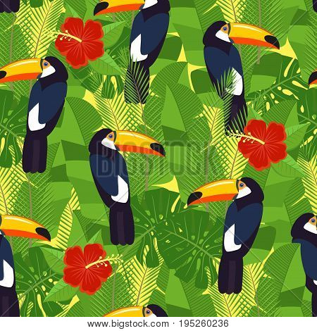 seamless tropical leaves and flowers - palm, monstera, hibiscus and plumeria, strelitzia reginae and tropical birds