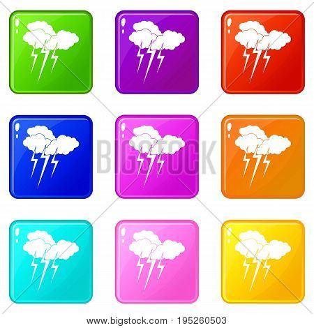 Cloud with lightnings icons of 9 color set isolated vector illustration