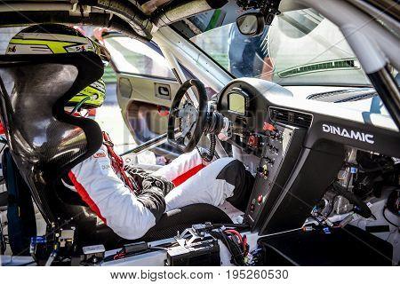 Vallelunga, Rome, Italy. June 24 2017. Porsche Carrera Driver Inside Cockpit
