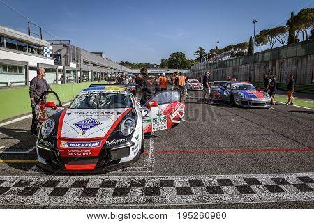 Vallelunga, Rome, Italy. June 24 2017. Italian Porsche Carrera Cup Alessio Rovera And Gianmarco Quar