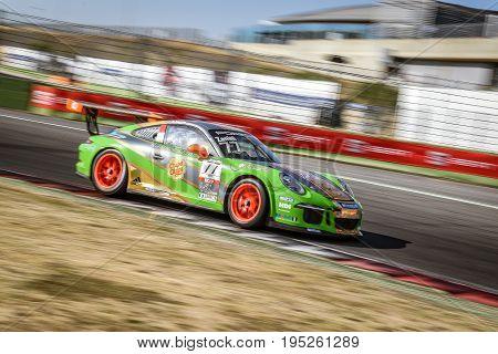 Vallelunga Rome Italy. June 24 2017. Italian Porsche Carrera Cup Stefano Zanini racing driver in action on circuit turn
