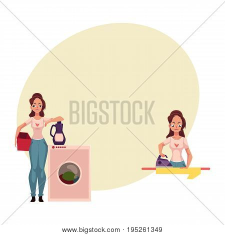 Pretty young woman, housewife doing housework - ironing, washing the floor, cartoon vector illustration with space for text. Beautiful woman washing washing clothes