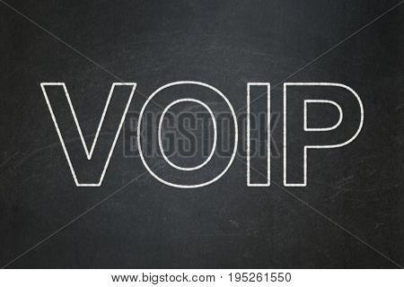 Web design concept: text VOIP on Black chalkboard background