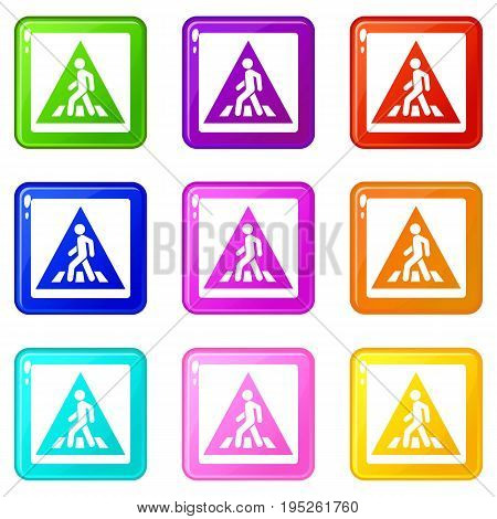Pedestrian road sign icons of 9 color set isolated vector illustration