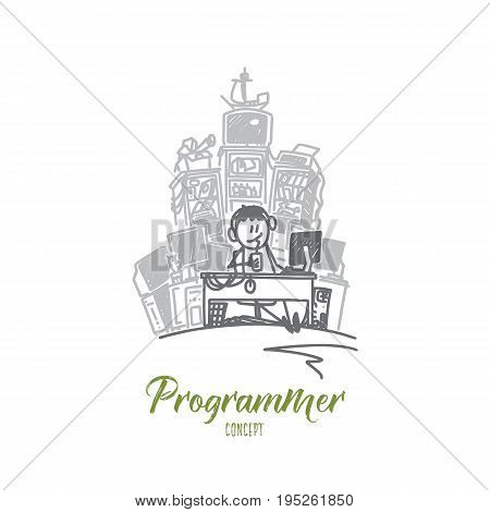 Programmer concept. Hand drawn male developer with computer. Man programming isolated vector illustration.