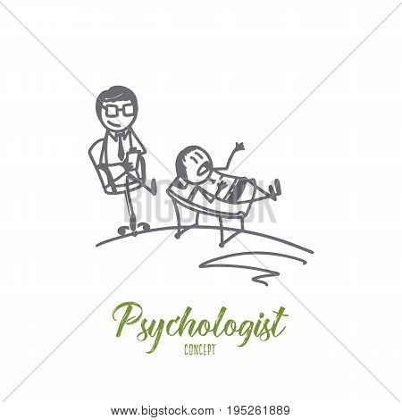 Psychologist concept. Hand drawn reception at the psychologist. Patient lying on couch while doctor is making notes isolated vector illustration.