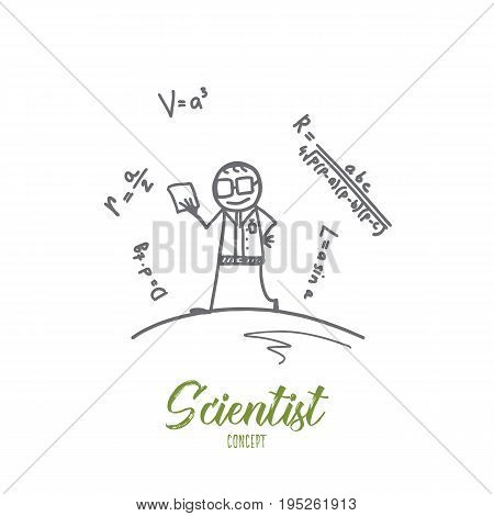 Scientist concept. Hand drawn smiling scientist leaning mathematical formulas. Person in glasses isolated vector illustration.
