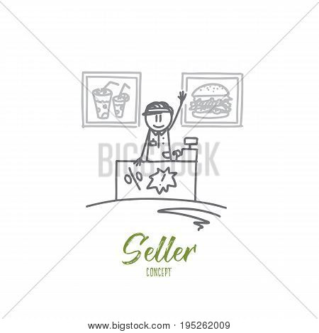 Seller concept. Hand drawn salesman behind the counter. Professional seller in fast food cafe isolated vector illustration.