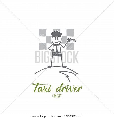 Taxi driver concept. Hand drawn male taxi driver with keys. Man in uniform waiting for passengers in a taxi isolated vector illustration.