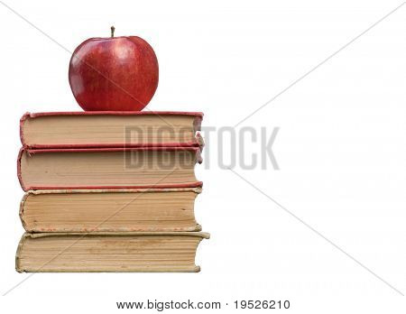 red apple & books: isolated on white