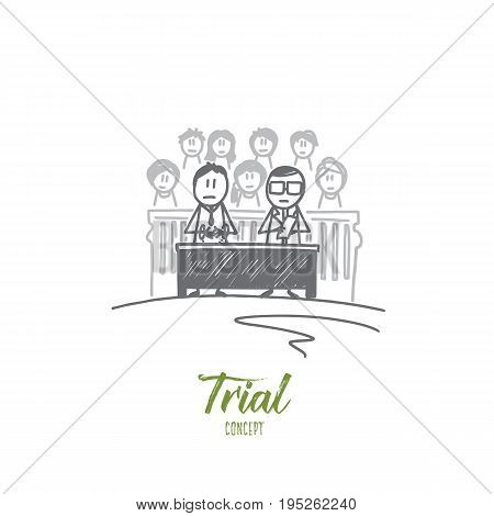Trial concept. Hand drawn courtroom with people inside. Trial and judge isolated vector illustration.