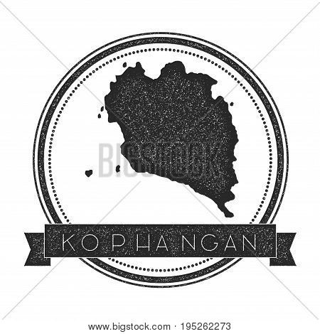 Ko Pha Ngan Map Stamp. Retro Distressed Insignia. Hipster Round Badge With Text Banner. Island Vecto