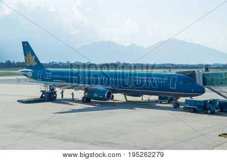 Da Nang, Vietnam - August 15, 2015: Vietnam Airlines Airbus A321 on the tarmac at Da Nang airport. Vietnam Airlines is the national airline of Vietnam.