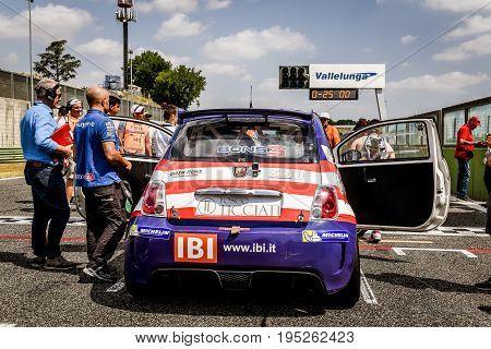 Vallelunga, Rome, Italy. June 25 2017. Trofeo Abarth Selenia, Fiat 500 Cars On Starting Grid