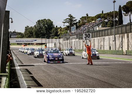 Vallelunga, Rome, Italy. June 25 2017. Trofeo Abarth Selenia, Fiat 500 Cars On Starting Grid Before