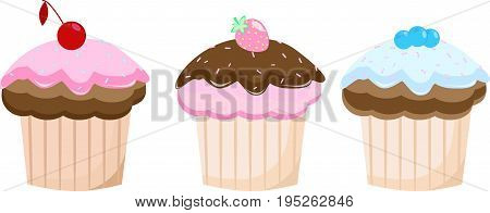 Cake set isolated vector strawberry, cute, icing