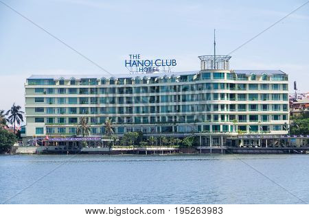 Hanoi, Vietnam - August 16, 2015: the Hanoi Club Hotel lies on the shore of the West Lake, the largest urban lake in Hanoi, Vietnam.