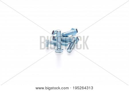 Image few of screws isolated on blank white background