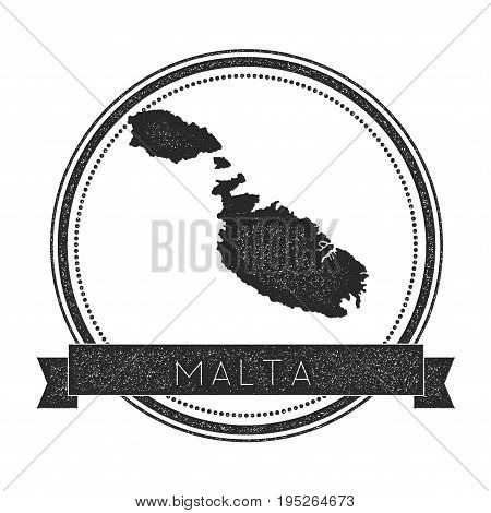 Malta Map Stamp. Retro Distressed Insignia. Hipster Round Badge With Text Banner. Island Vector Illu