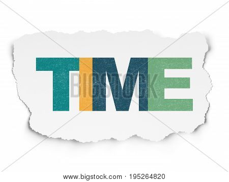 Timeline concept: Painted multicolor text Time on Torn Paper background