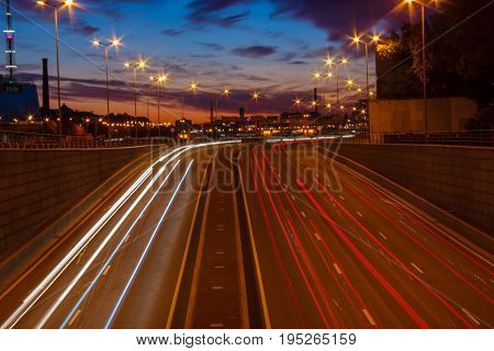 Traffic on the streets of the Saint-Petersburg, white nights in north capital in russia